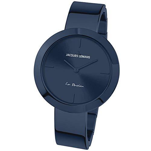 JACQUES LEMANS 1-2031J La Passion - Reloj de Pulsera para Mujer (Correa de Metal Maciza, Acero Inoxidable), Color Azul