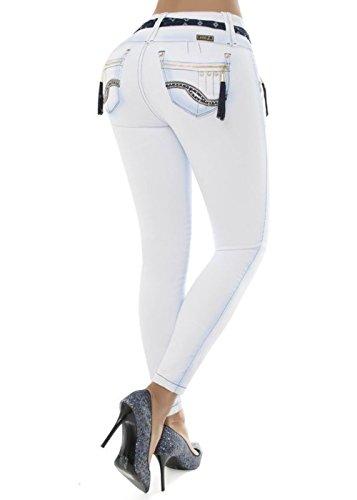 Frauen Mädchen Wonder Push-up Figurgestaltungs klassische Straight Cut Jeans mit unseren eigenen Hintern -Lifting und Straffung einzigartiges Design, Wonder Push-Up Skinny Slim Fit. Weiß