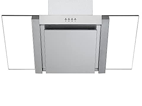 Angled Glass Extractor Fan | Cookology ANG905SS Unbranded 90cm Angled Glass Chimney Cooker Hood in Stainless Steel