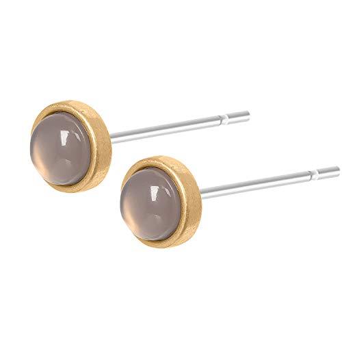 Sence Copenhagen Damen Ohrstecker Gold aus der Essential Earring-Serie mit einer Grauen Achat Perle Messing vergoldet - A504
