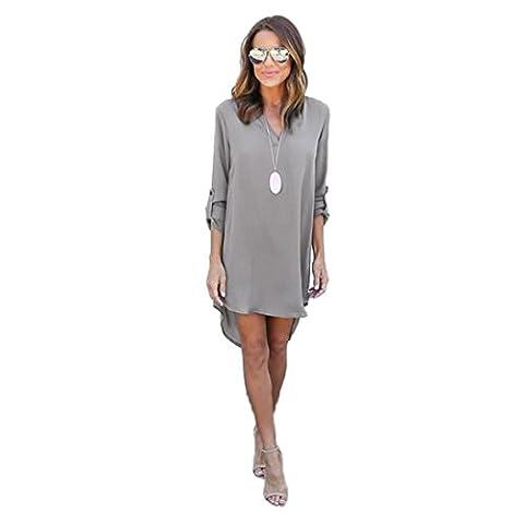 FORH Frauen Chic Chiffon Bluse Kleid lang Ärmel hohe Taille Kleider hohe Taille Partykleider Graziös Minikleid Abendkleider (S, Grau)