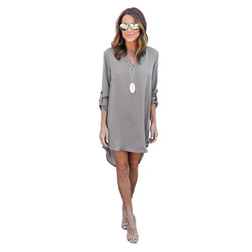 FORH Frauen Chic Chiffon Bluse Kleid lang Ärmel hohe Taille Kleider hohe Taille Partykleider Graziös Minikleid Abendkleider (S, Grau) (Living Dot Beach)