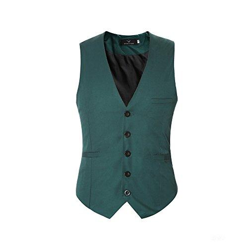 Herren Anzugweste Elegant Basic Weste Stilvoll Vest Regular Design (Herren Weste Grün)
