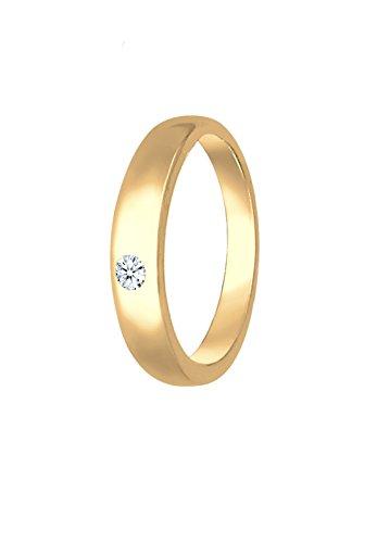 Elli PREMIUM Anhänger Anhänger Kinder Taufring mit Diamant (0.01 ct.) in 585 Gelbgold