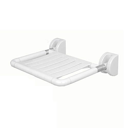 Sillas Plegables Taburete Plegable de Nylon Seguridad y protección del Medio Ambiente Baño Zapatero Tienda de Zapatos de Pared (Color : Blanco)