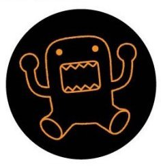 "Domo-Kun, Domo, 1.25"" X 1.25"", Officially Licensed - BUTTON - Orange Neon Outline Kids Japan TV Show Stop Motion Series"