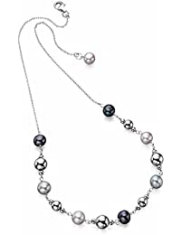 Elements Sterling Silver Ladies' N3246 Multi Colour Pearl and Silver Beads Necklace Length 46cm