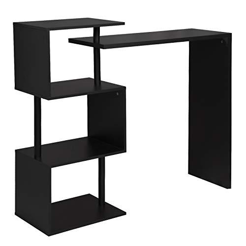 WOLTU BT27sz Table de Bar Rotatif avec 3 tablettes,Table de bistrot en métal et MDF 134x38x112cm,Noir