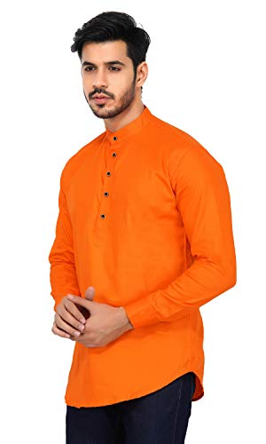 U-TURN Men's Cotton Short Kurta Kurta (orange-kurta-XL_Orange_X-Large)
