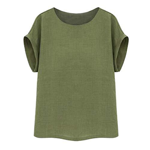 lle Leinen T-Shirt Basic Sommer Freizeit Rundhals Kurzarmshirt Tunika Tops Oberteil Große Größe(XXXL,Armeegrün) ()