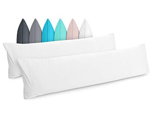 Doppelpack - Kissenbezüge aus Jersey-Baumwolle - Moderne Kissenhüllen in unifarbenem Design - in 6 Modernen Farben und 4 Größen, ca. 40 x 145 cm, weiß