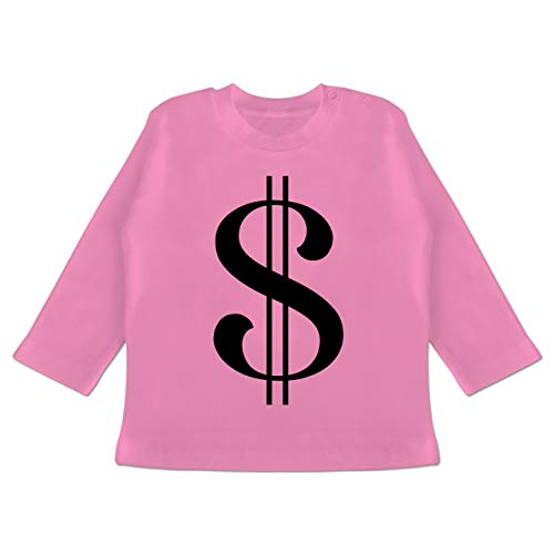Karneval und Fasching Baby - Dollar Kostüm - 3-6 Monate - Pink - BZ11 - Baby T-Shirt Langarm (Dollar Baby Kostüm)