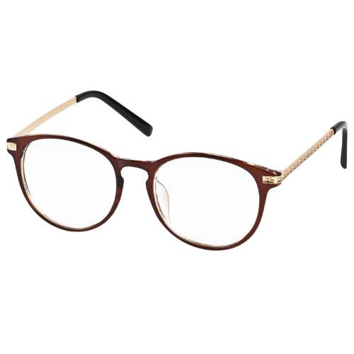 iB-iP Donna Metallo Losanga Modello lente trasparente Occhiali di moda Brown Taglia unica