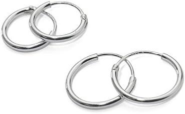 Dos par de plata de ley pequeño Endless pendientes de aro para el cartílago de la oreja, nariz o labios, 10mm 12mm