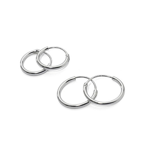 Two Pair Sterling Silver Small Endless Hoop Earrings for Cartilage, Nose or Lips, 10mm 12mm