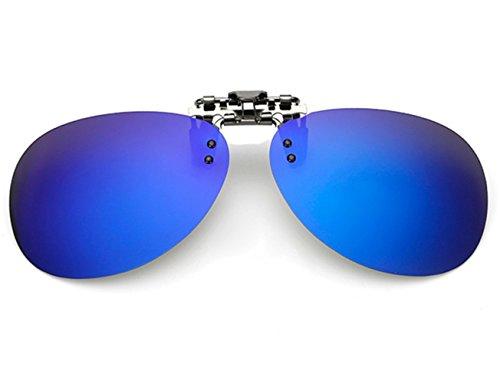 ELSA & ANNA® Flip-up Polarisierte Sonnenbrillen Unisex Klipp auf Sonnenbrille Gläsern Brille VF-GLS04 (Blau Quecksilber)