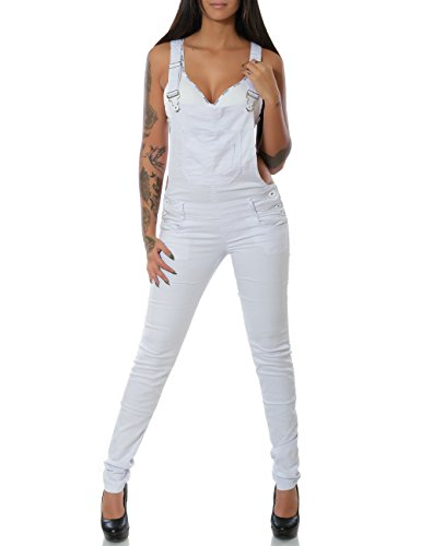 Damen Jeans Hose Latzjeans Latzhose Overall (Röhre weitere Farben) No 14226, Farbe:Weiß, Größe:L / 40
