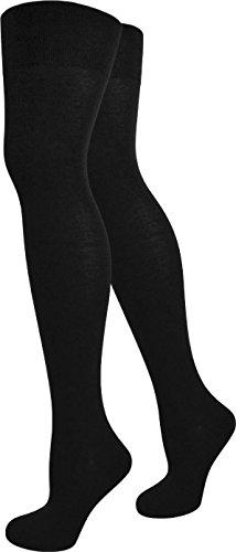 normani® Damen Overknees Über-Knie Strümpfe geringelt in verschiedenen Farben Farbe Schwarz (Strumpf Cosplay Kostüm)