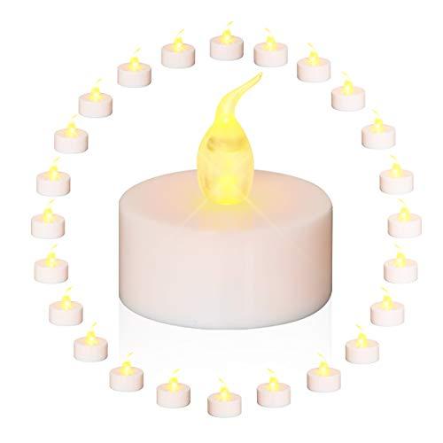 LED Kerzen, GLIME 24 LED Flammenlose Kerzen, Teelichter Flammenlose Kerzen, Batteriebetrieb Elektrische Teelichter Kerzen für Weihnachten, Geburtstag, Hochzeit, Party, Haus Dekoration 24PCS