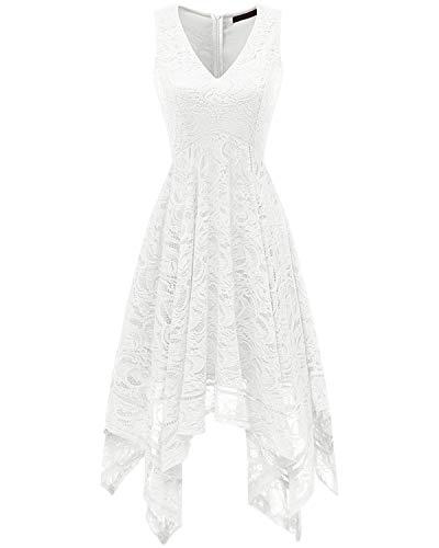 Bridesmay Robe Dentelle Femme Asymétrique Robe Demoiselle d'honneur Cocktail Bal Mariage Fête Robe de Soirée Pin up Col en V sans Manche White L