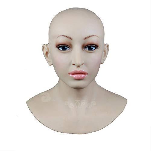 BZDJS Weiche silikon realistische Dame Kopf Maske handgemachtes Gesicht für Crossdresser Transgender Cosplay Halloween Maskerade cos Transvestite,MouthClosed