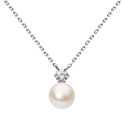 Dew - Collana con ciondolo a forma di cuore, in argento sterling e zirconia cubica, lunghezza 45,7