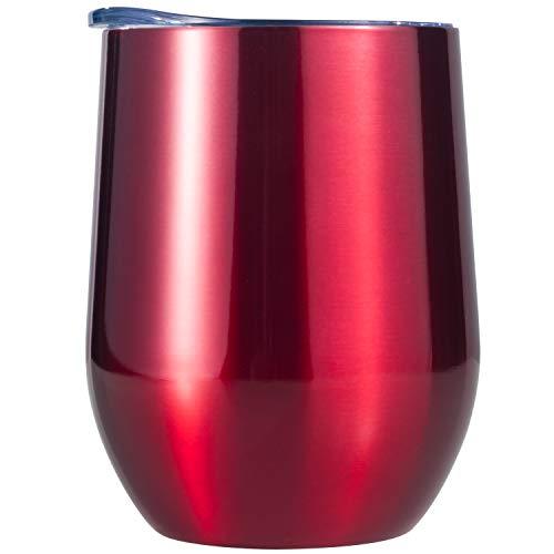 Edelstahl Weingläser Stemless Weinglas Doppelwandig Isoliert Weinbecher mit Deckel 340ml Unzerbrechliche Trinkbecher für Champagner, Cocktails, Bier, Kaffee,Tee,Milch, Eis Rot