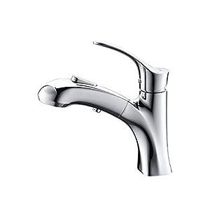 Umi. by Amazon - Wasserhahn Bad Waschbecken Armatur mit herausziehbarer Brause und eine Pause Taste Mischbatterie Waschtischarmatur