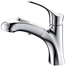 Umi. Rubinetto per lavabo da bagno Essentials Faucet con doccetta estraibile e unità di vanità con miscelatore a pulsante