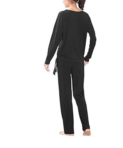 Esprit Sports Relaxed Lifestyle Langarmshirt Longsleeve, Pull de Femme Noir (BLACK 001)