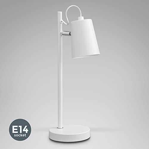 B.K.Licht I Tischleuchte I Schreibtisch-Leuchte 1-flammig I verstellbarer Kopf I Metall I Weiß I E14 I IP20