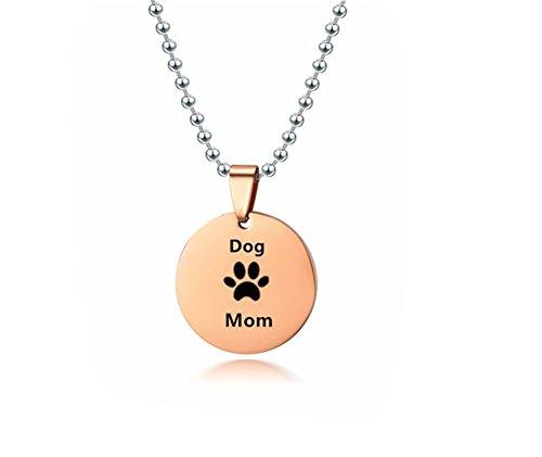 Mädchen Edelstahl 18 Karat Rose Gold Überzogene Hund Katzen Pet Paw Charm Halskette Pet Freunde Katze Mom Anhänger für Pet Besitzer Schmuck ()
