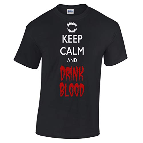 Kostüm Beängstigend Männer - Halloween T-Shirt Halten Sie Ruhe und Trinken Blut Black XXXXX-Large