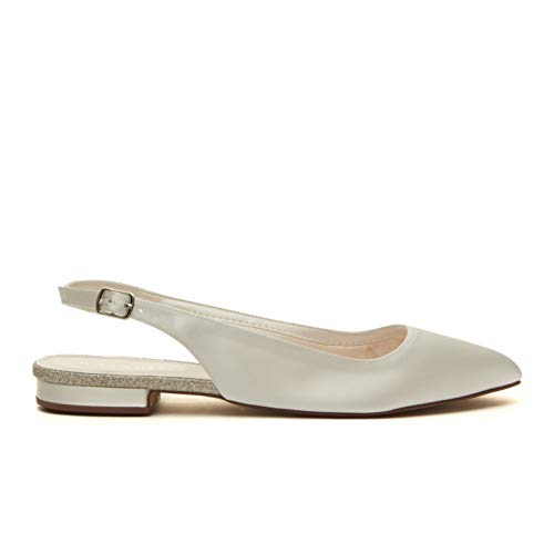 Rainbow club scarpe da sposa alise - donna ballerina satin, avorio (ivory/creme), 38 eu