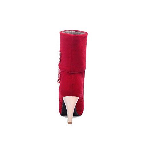 AgooLar Femme Suédé Haut Bas Couleur Unie Tire à Talon Haut Bottes Rouge