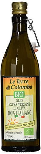 Le Terre di Colombo - 100 % Italienisches Natives Bio-Olivenöl Extra, Gerippte Flasche mit Mechanischem Verschluss, 0,75 l