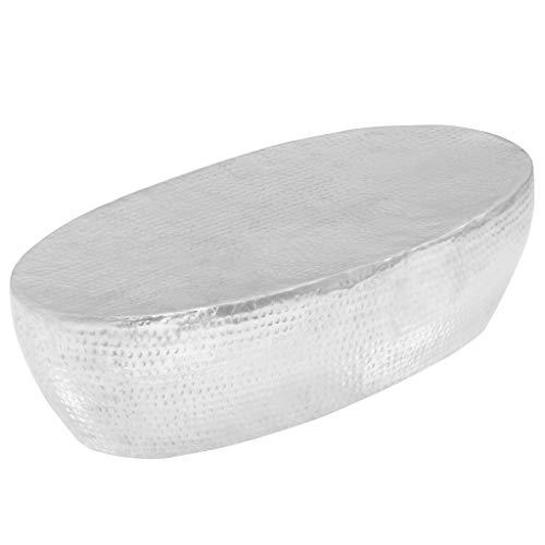 ROMELAREU Couchtisch Silber gehämmert 100 x 50 x 28 cm Aluminium Möbel Tische Ziertische Couchtische
