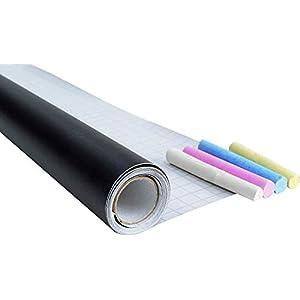 CON:P Tafelfolie schwarz - 200 x 45 cm - Selbstklebend & leicht anzubringen - Ideal zum Zeichnen, Schreiben & Gestalten - Mit Tafelkreide in weiß, blau, gelb & rosa / Kreidetafel / Wandfolie / B29206