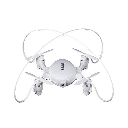 OCDAY Mini FPV Quadcopter plegable 2.4G 4CH 6Axis Pocket Drone RC Helicóptero con 0.3MP Cámara HD -Blanco