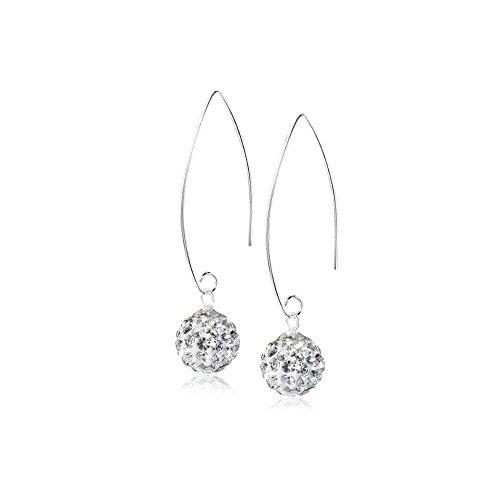 MATERIA Durchzieher Ohrringe Kristall Kugel Silber 925 Weiß Damen + Box SO-123W (Kugeln Kristall-box)