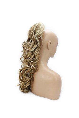 Elegant Hair - 56cm / 22 pouces queue de cheval Ondulé - Fraise mélange blonde #27/613 - Clip-in pièce de extensions de cheveux réversible avec griffe-clip - 30 Couleurs - 250g