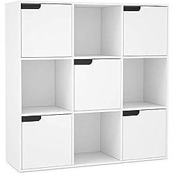 Homfa Meuble de Rangement Bibliothèque Etagère en Bois (9 Cubes 5 Portes)