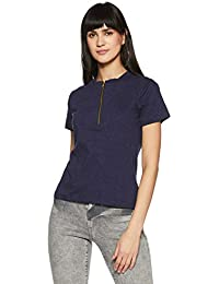 Miss Chase Women's Blue Cotton Zippered Top