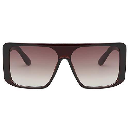 Tonpot - occhiali da sole polarizzati alla moda ad angolo retto, quadrati, unisex 14.1 * 13.4 * 5.4cm marrone