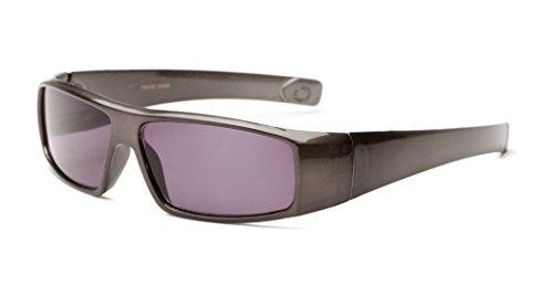 +1.00 Graphit Grau Getönte Lesebrille Sonnenbrille Designer Stil Rundum-Design Männer, Frauen, Unisex 100% UV-Schutz, +1 Dioptrien