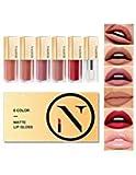 NAQIER Lipglosse Set Matt, Set bestehend aus 6 Flüssigkeit Lippenstiften, Nude Lipgloss, Wasserdicht