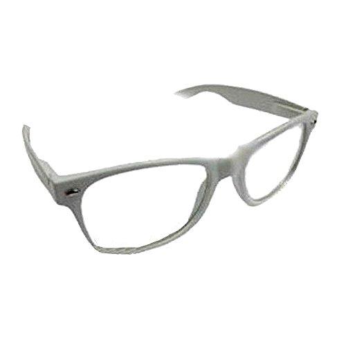 eeddoo Wayfarer Nerd Brille ohne Stärke - weiß (Brille für Damen und Herren)