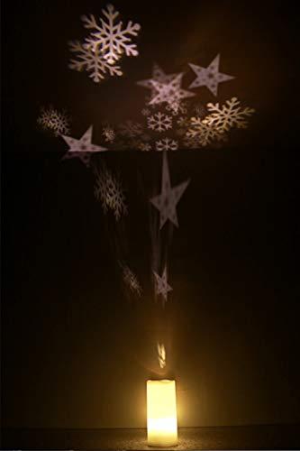 Leeko LED Kerzen Projektionslampe Flammenlose Projektor Leuchten mit drahtloser Fernbedienung und Timing Funktion für Außen und Innen Deko, Partys, Weinachten und Feiertage (Schneeflocke) -