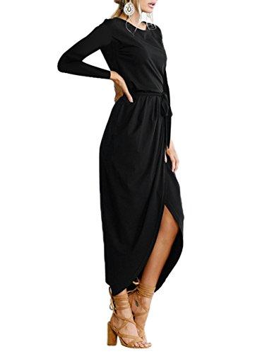 Abollria Langes Kleid Damen Maxikleid mit Schlitz A-Linie Langarm Elegant Partykleid Schwarz