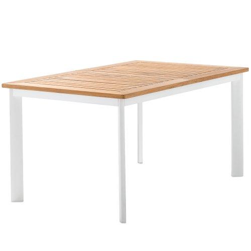 SIEGER Table de Jardin avec Structure en Aluminium et Plateau en Bois de Teck plantations 152/210 x 92 cm Blanc